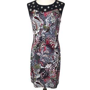 Joseph Ribkoff Sleeveless Paisley & Grommet Dress